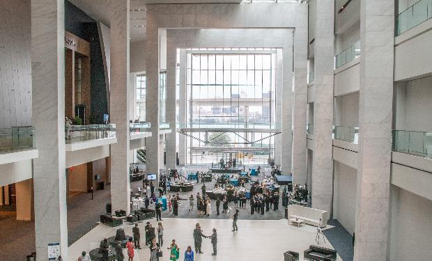The Atrium at Cobo Center overlooks the Detroit River and Canada
