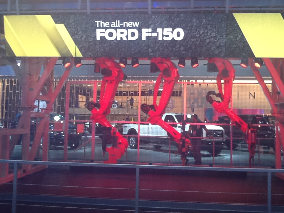 Robotic arms in the Ford stand