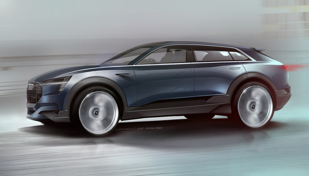 The Audi e-tron quattro concept is designed from the ground up as an electric car and proves to be pioneering in its segment at the very first glance.