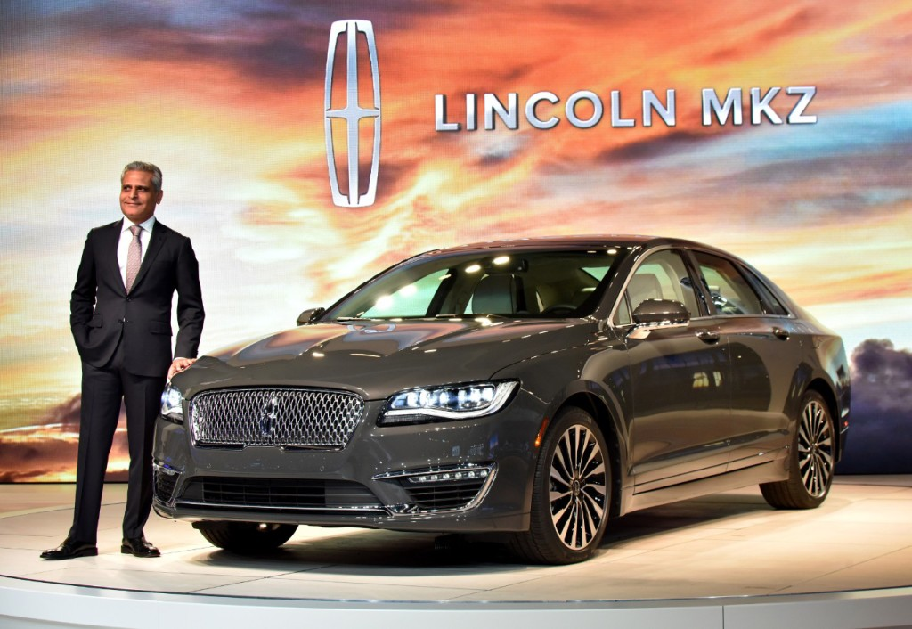LOS ANGELES, CA. Nov. 18, 2015--Kumar Galhotra, President, Lincoln-- reveals a newly designed MKZ today at the Los Angeles International Auto Show (LAIAS) focusing on areas most desired by today's luxury midsize sedan customer – quality, performance and style. The new MKZ is powered by a Lincoln exclusive 400 hp,3.0-liter GTDI V6 engine. Photo by: Sam VarnHagen